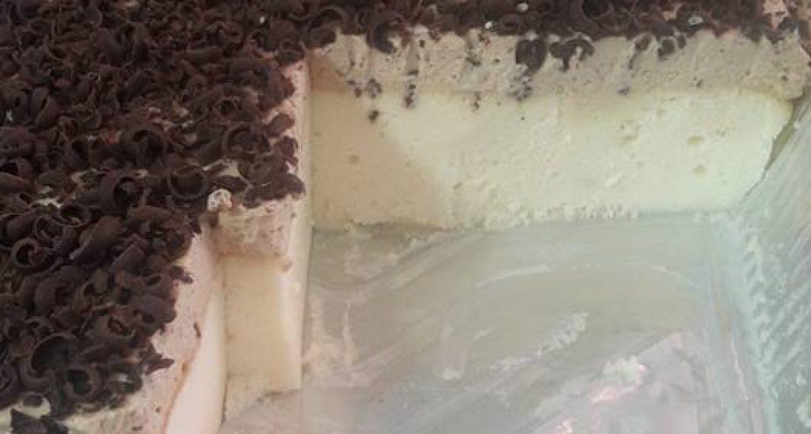 עוגת גבינה אפויה עם קרם מוקה