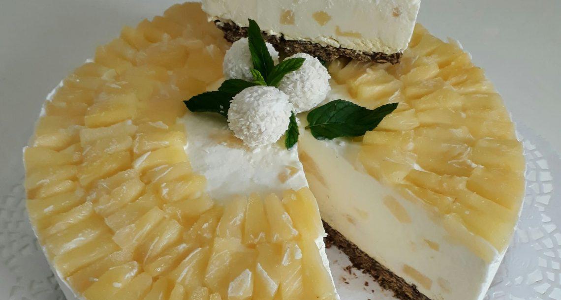 עוגת גבינה קרה עם אננס