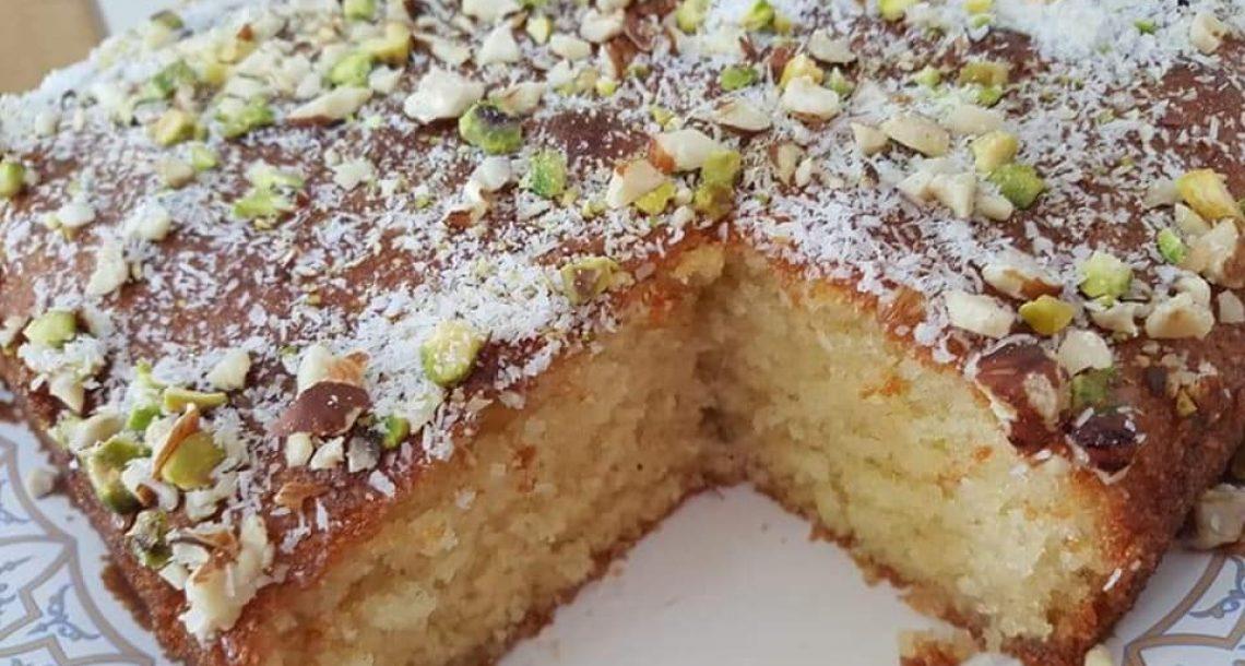 עוגת סולת וקוקוס עם סירופ טעים