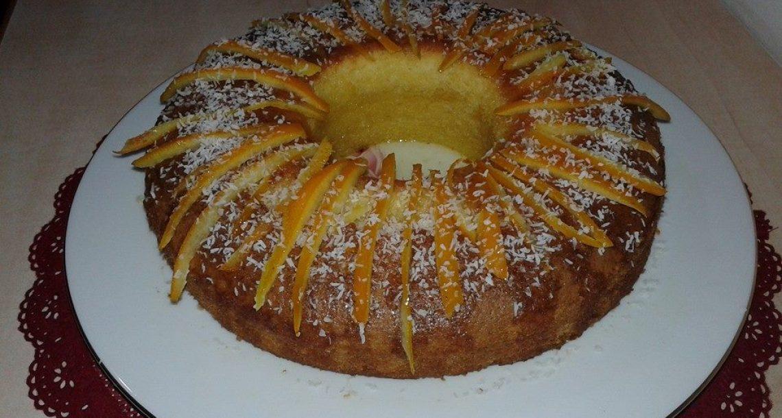 עוגת תפוז קוקוס עם רוטב תפוזים