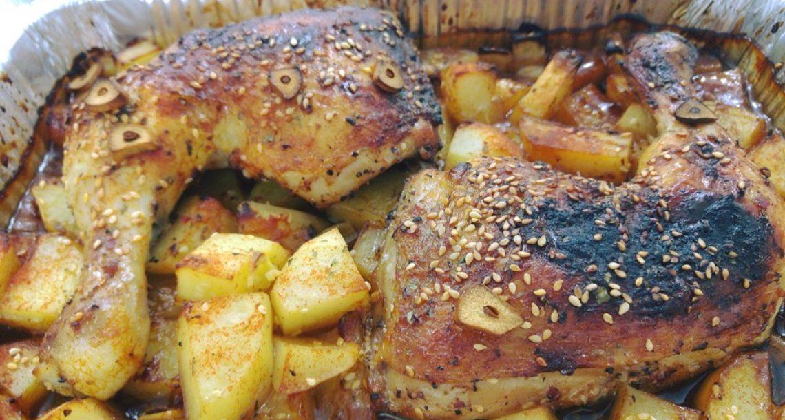 עוף בדבש עם תפוחי אדמה