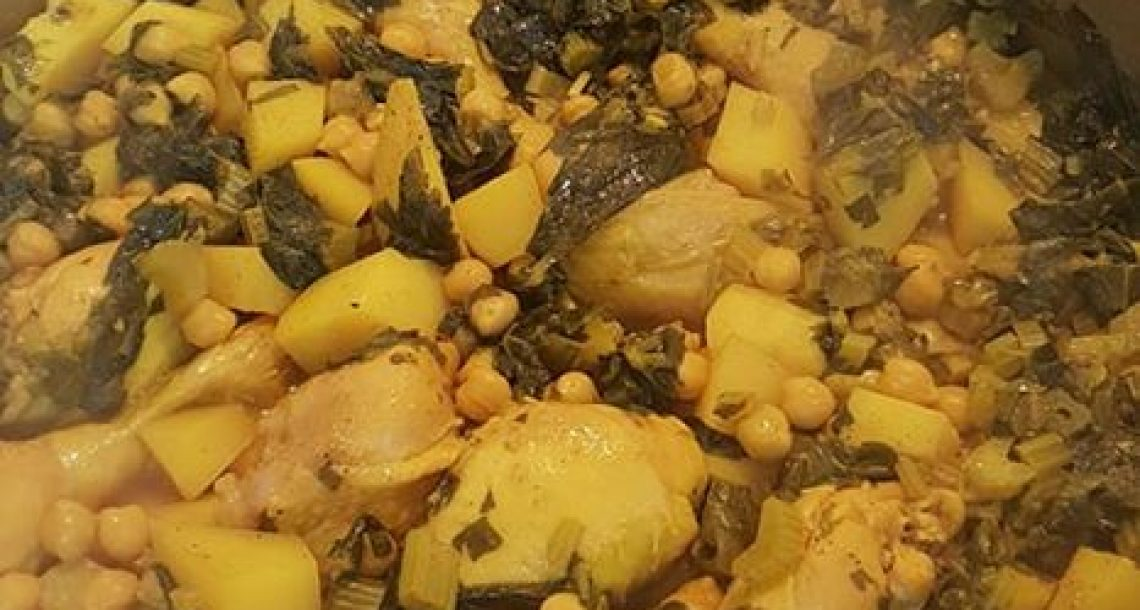 תבשיל שוקיים עם חומוס תפוא והמון סלרי